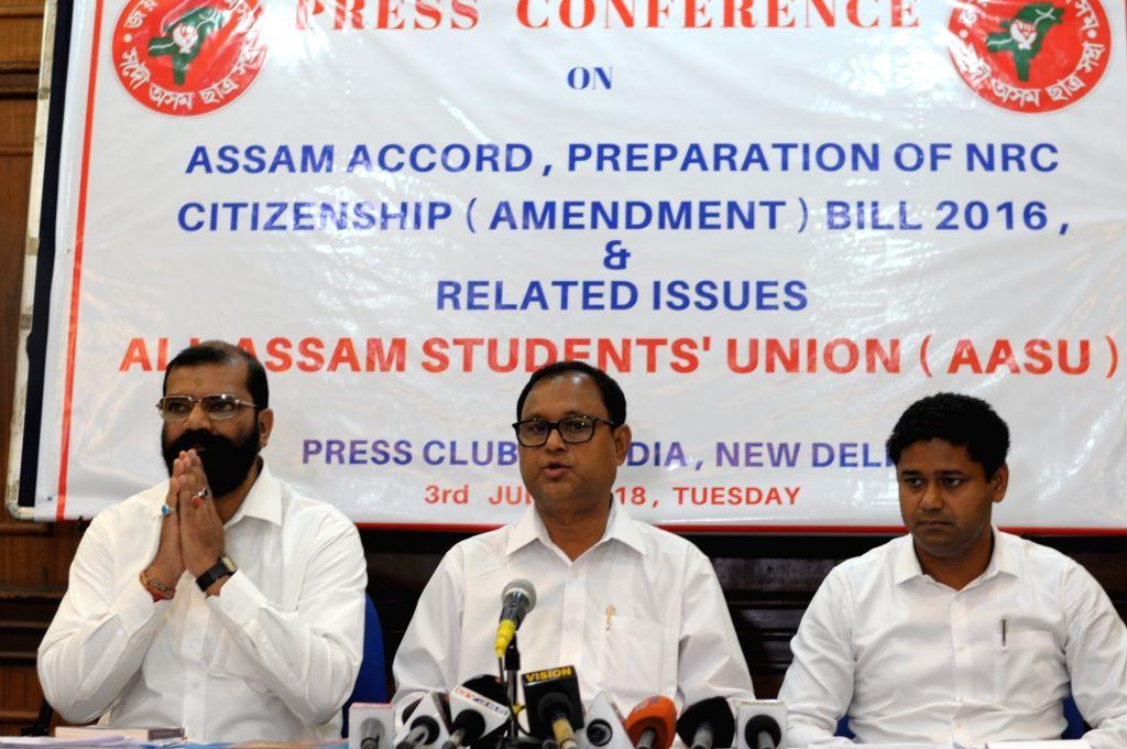 All Assam Students' Union (AASU) president Dipanka Kumar Nath, Chief Advisor Samujjal Bhattacharjya and General Secretary Lurin Jyoti Gogoi during a press conference regarding Citizenship ... - Dipanka Kumar Nath