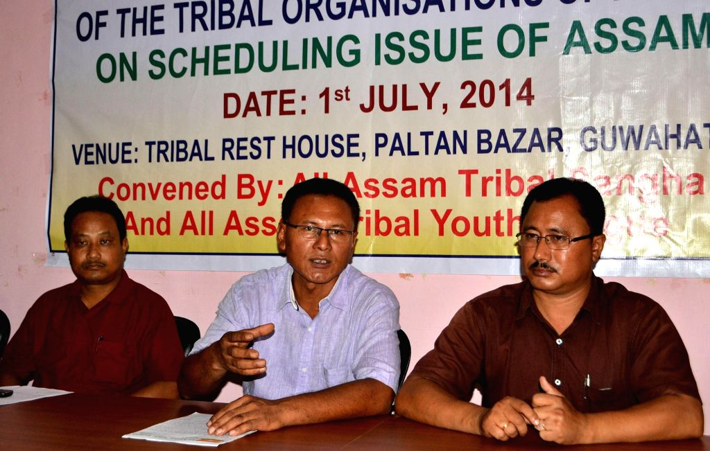All Assam Tribal Sangha General Secretary Aditya Khakhlari addresses a press conference after joint meeting of the Tribal Organizations of Assam on Scheduling Issue of Assam in Guwahati on July 1, ...