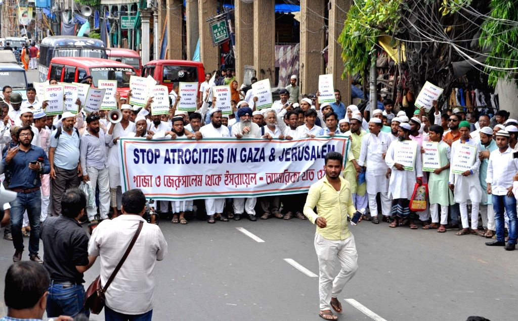 All Bengal Minorities Youth Federation activists stage a demonstration against Israel's use of force against Palestinians; in Kolkata on May 22, 2018.