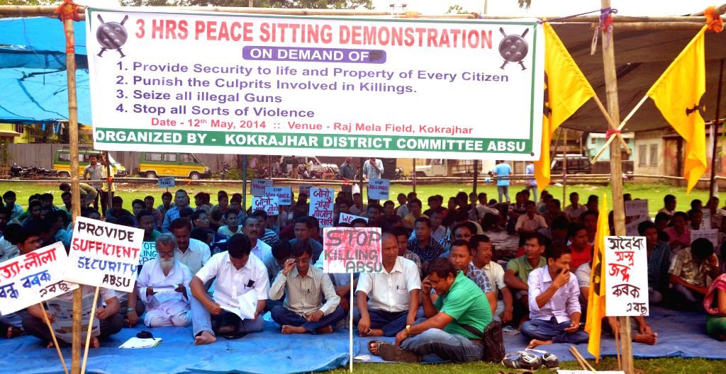 All Bodo Student Union (ABSU)  activists stage a demonstration against recent BTAD violence in Kokrajhar of Assam on May 12, 2014.