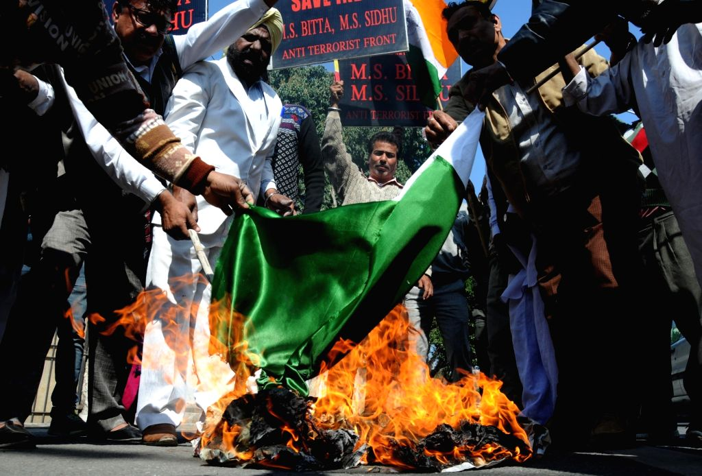 All India Anti-Terrorist Front activists stage a demonstration against Pakistan in the wake of Sunjawan army camp attack; in Amritsar on Feb 14, 2018. According to the Indian Army, more ...