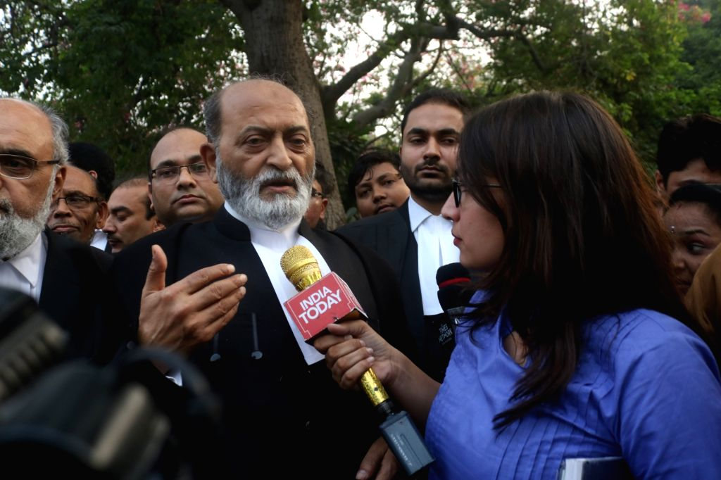 All India Babri Masjid Action Committee (AIBMAC) convener and Sunni Waqf Board's advocate Zafaryab Jilani talks to the media outside the Supreme Court after the hearing in Ayodhya title ...