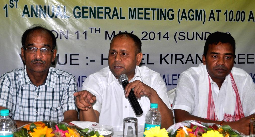All India Drug Dealers Association General Secretary Suresh Gupta during a press conference in Guwahati on May 11, 2014.