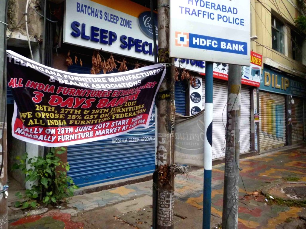 All India Furniture Trade Federation observe a bandh by closing their shops in protest against the implementation of GST in Hyderabad on June 28, 2017.