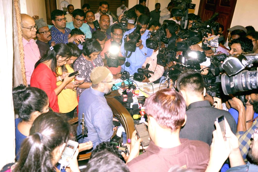 All India Majis-e-Ittehadul Muslimeen (AIMIM) president Asaduddin Owaisi addresses a press conference after the party maintained its grip on Hyderabad politics, retaining seven Assembly ...