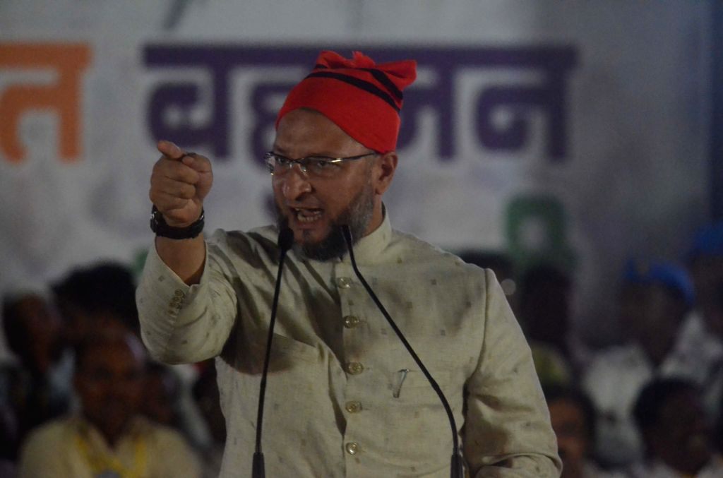 All India Majlis-e-Ittehad-ul Muslimeen (AIMIM) President Asaduddin Owaisi addresses during a public rally for the Vanchit Bahujan Aghadi (VBA) in Mumbai, on Feb 23, 2019.