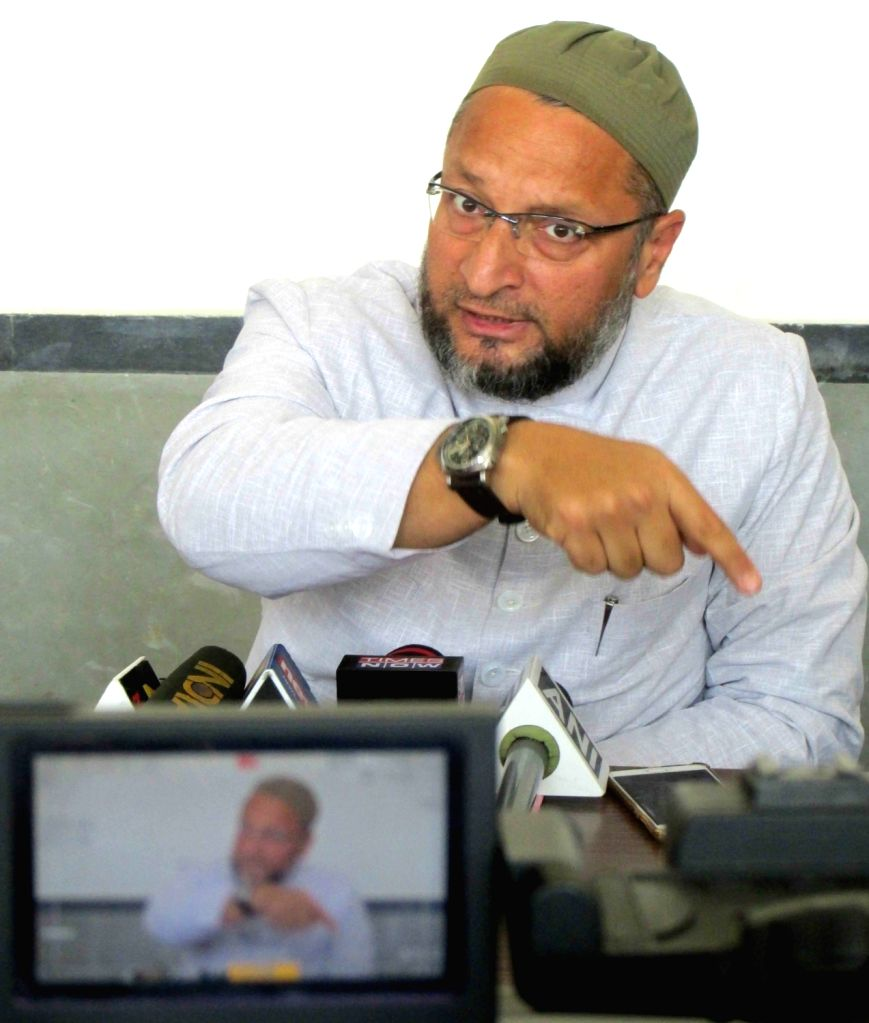 All India Majlis-e-Ittehad-ul Muslimeen (AIMIM) President Asaduddin Owaisi talks to media person in Hyderabad, on March 7, 2019.