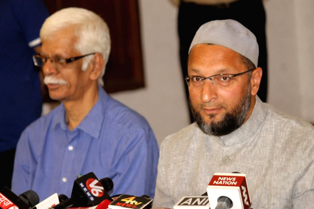 All India Majlis-e-Ittehadul Muslimeen (AIMIM) chief Asaduddin Owaisi addresses a press conference regarding assembly elections; in Hyderabad on March 11, 2017.
