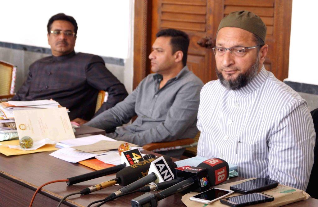 All India Majlis-e-Ittehadul Muslimeen (AIMIM) chief Asaduddin Owaisi addresses a press conference in Hyderabad on Feb 13, 2018.