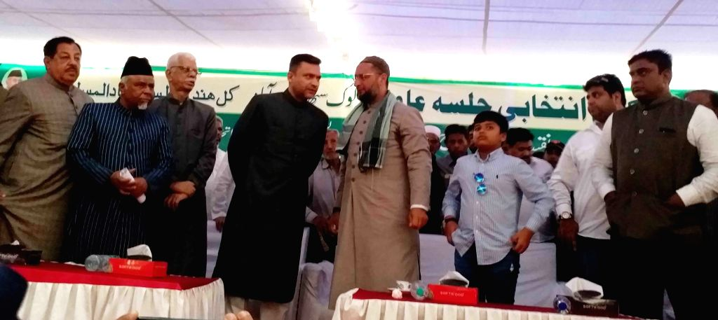 All India Majlis-e-Ittehadul Muslimeen (AIMIM) leaders Asaduddin Owaisi and Akbaruddin Owaisi during a public meeting in Hyderabad, on April 9, 2019.