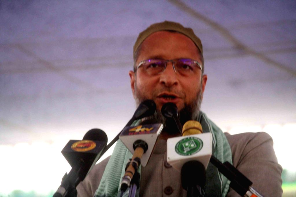 All India Majlis-e-Ittehadul Muslimeen (AIMIM) chief Asaduddin Owaisi addresses during a public meeting in Hyderabad, on April 9, 2019.