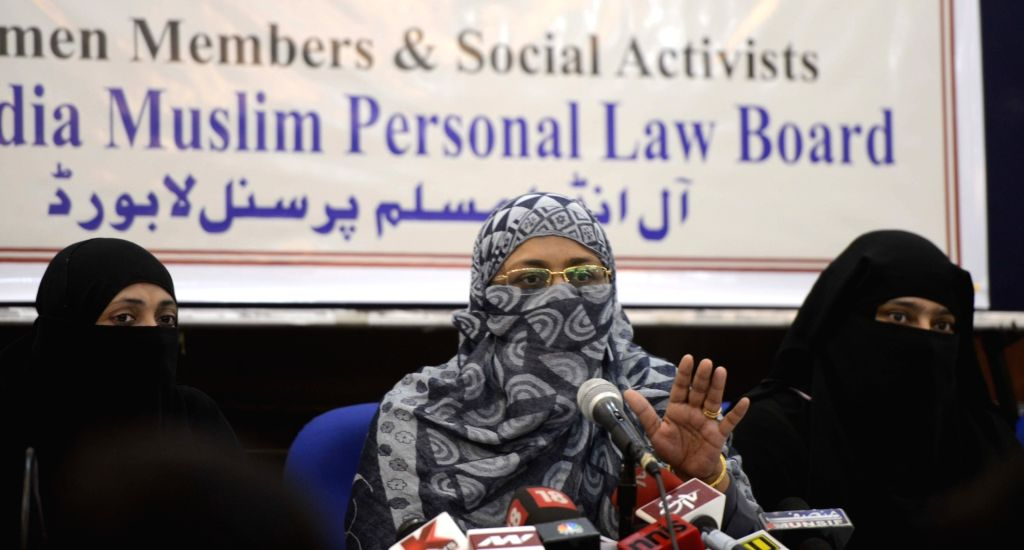 "All India Muslim Personal Law Board members address a press conference on ""Triple Talaq"" in New Delhi on Oct 27, 2016."