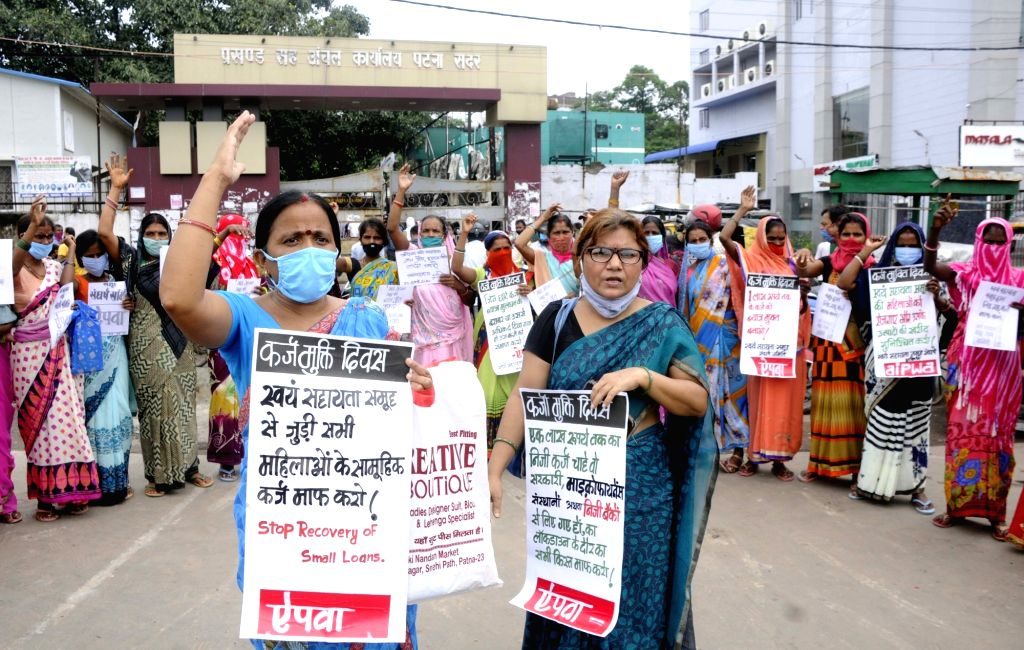 All India Progressive Women's Association (AIPWA) activists stage a demonstration to press for their various demands, in Patna on Aug 13, 2020.