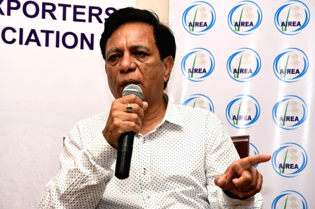 All India Rice Exporters Association (AIREA) President Vijay Setia addresses a press conference regarding the virtual ban imposed by the European Union on the import of Indian Rice in New ...