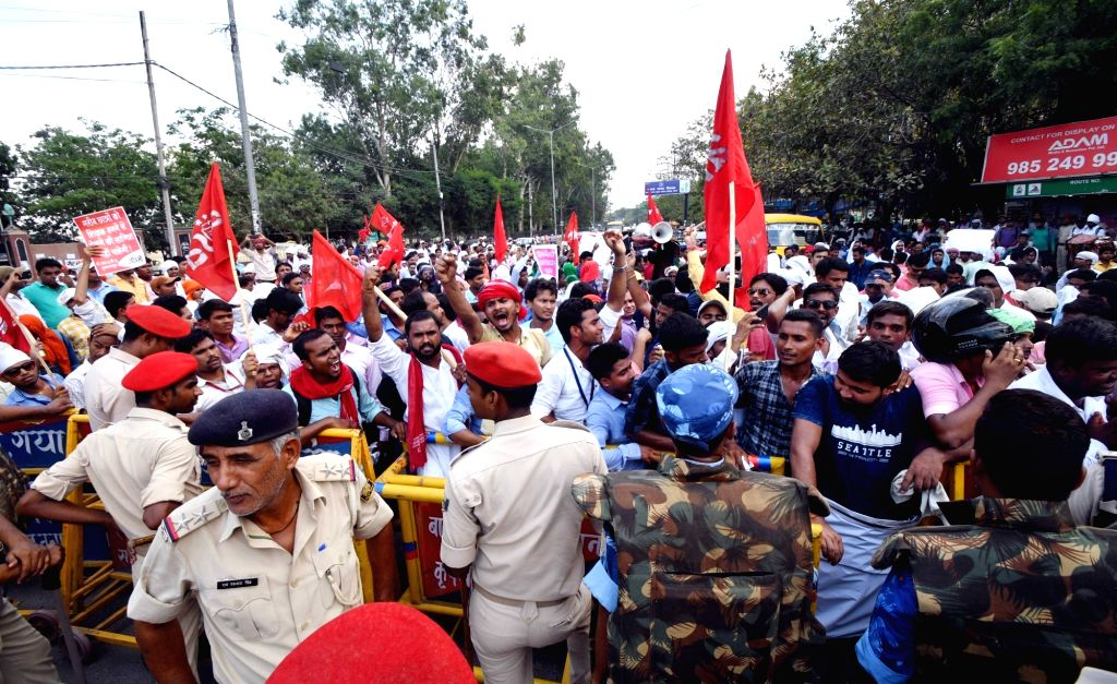 All India Students' Association (AISA) activists stage a demonstration against college fee hike, in Patna, on July 19, 2018.