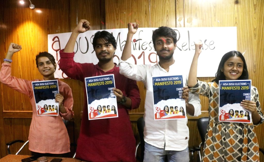 All India Students Association (AISA) candidates release their manifesto for elections to Delhi University Students Union (DUSU), in New Delhi on Sep 7, 2019.