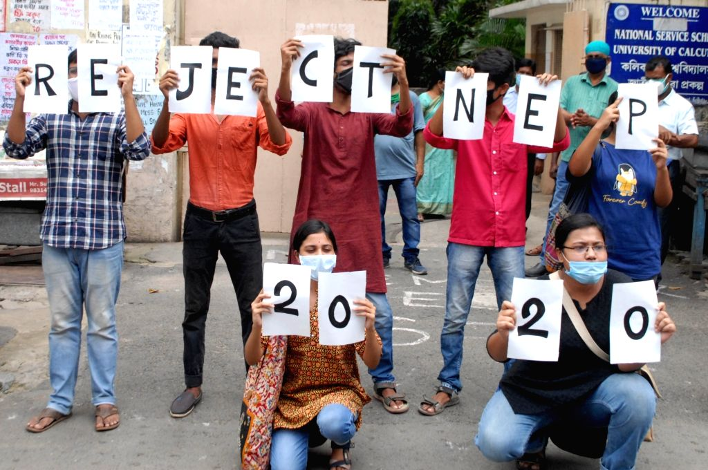 All India Students Federation (AISF) activists stage a demonstration against the National Education Policy 2020, in front of Calcutta University's main gate in Kolkata on Aug 12, 2020.