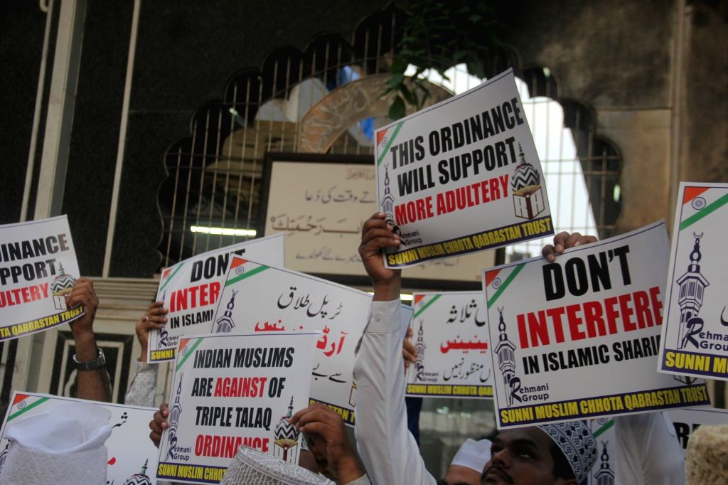 All India Sunni Jamiatul Ulama stage a demonstration after Union Cabinet approved an ordinance making triple talaq a criminal offence, a bill on which is pending in the Rajya Sabha; in Mumbai ...