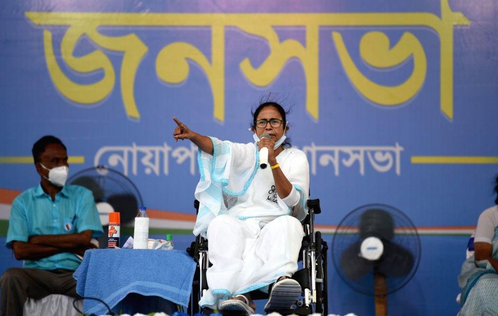 All India Trinamool Congress Suprimo and State Chief minister Mamata Banerjee at a public meeting during election campaign at Palta in North 24 parganas On Friday, 16th April,2021. - Mamata Banerjee