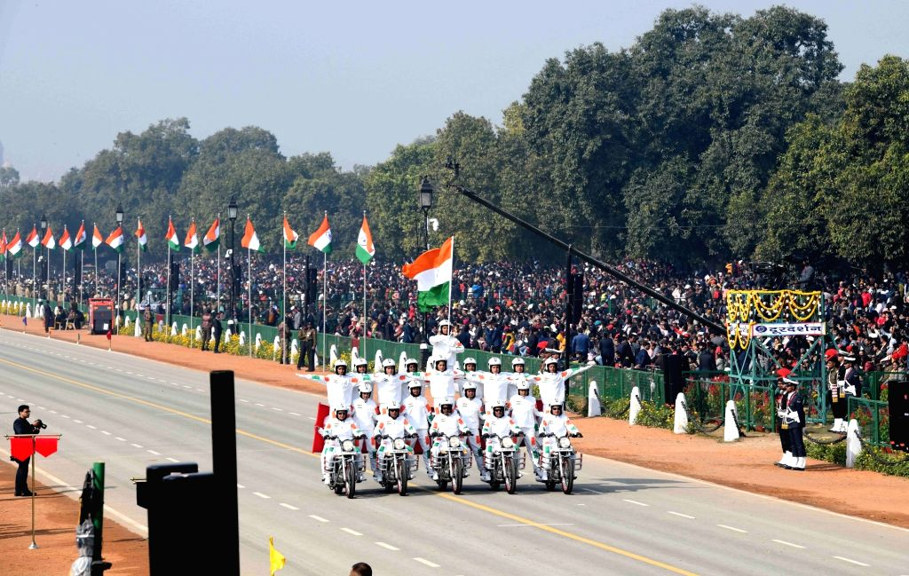 All-women bikers contingent of the CRPF passes through the Rajpath during the 71st Republic Day parade, in New Delhi on Jan 26, 2020.