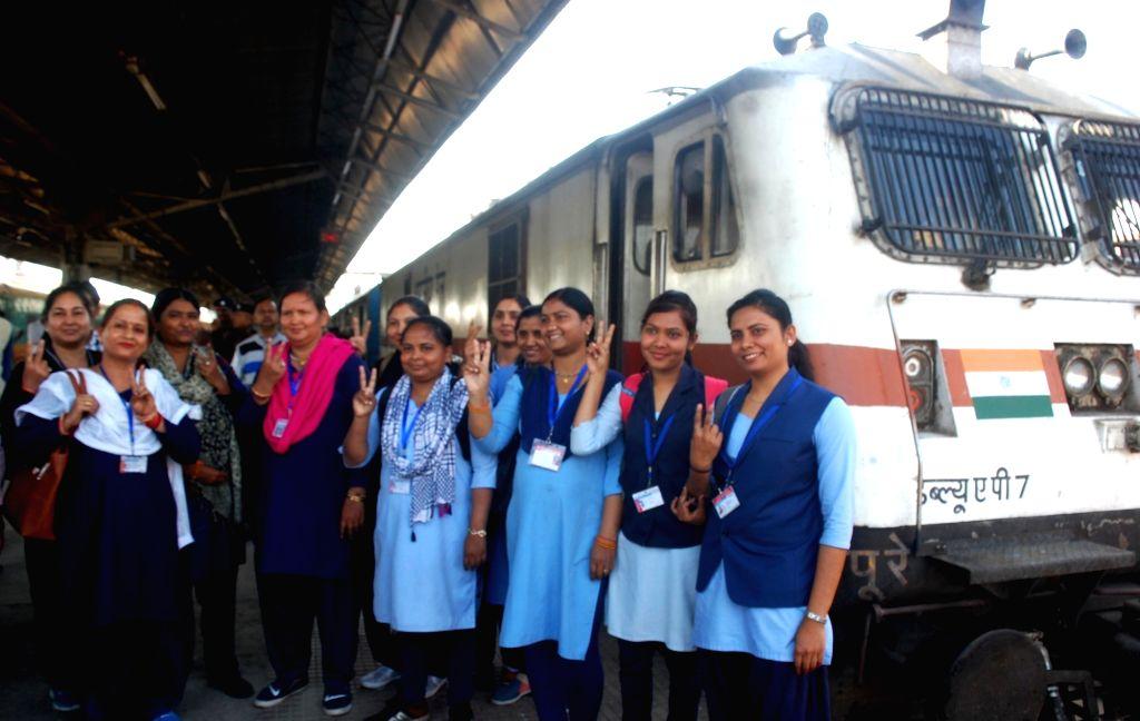 All women crew who operated Howrah-Jodhpur Express on International Women's Day in Prayagraj on March 8, 2019.