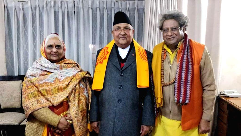 All World Gayatri Pariwar Head Pranav Pandya and Co-head of Shantikunj Shail Didi calls on Nepal Prime Minister Khadga Prasad Oli, in Kathmandu, Nepal, on March 5 2019. - Khadga Prasad Oli