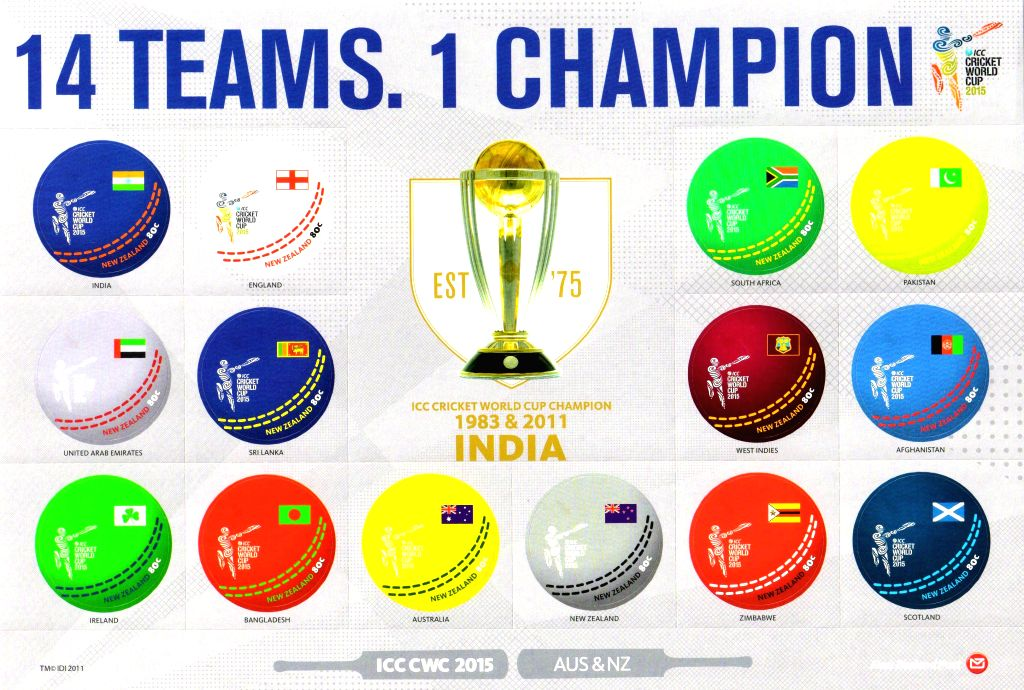 A view of postal stamps released ahead of ICC World Cup 2015 in Allahabad, on Feb 12, 2015.