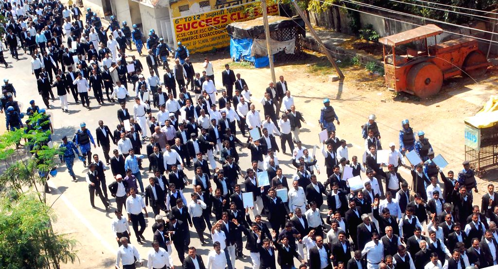 Allahabad district court lawyers participate in a rally to press for their demands in Allahabad, on March 23, 2015.