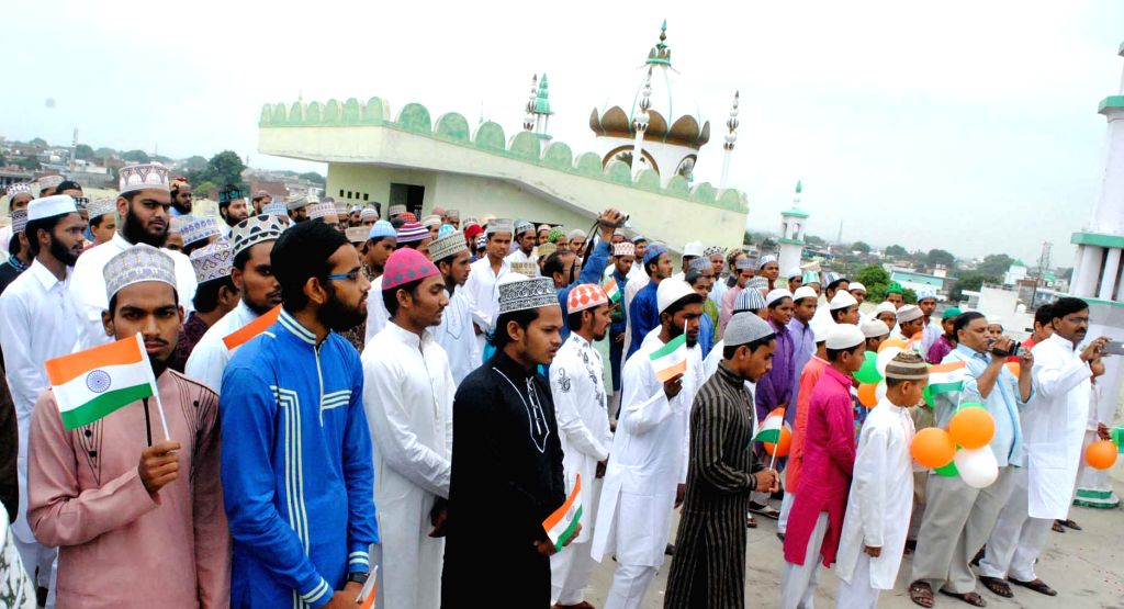 Allahabad: Independence Day celebrations underway at a Madarsa in Allahabad on Aug 15, 2017. Uttar Pradesh government has instructed the authorities to videograph the celebrations. (Photo: IANS)