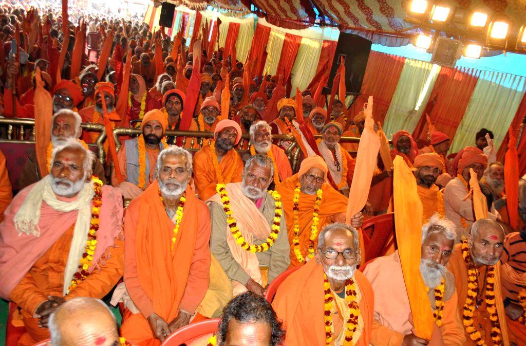 Shankaracharya Swaroopanand Saraswati during Sanatan Dharm Sansad organised at at the Magh Mela in Allahabad, on Jan 18, 2015.