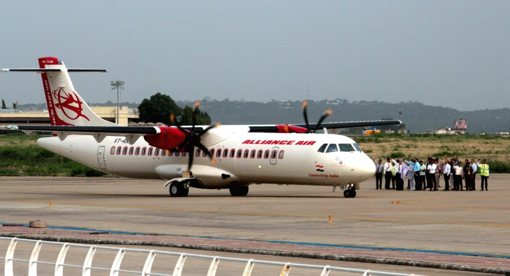 Alliance Air flight 91-696 that arrived at Bhopal's Raja Bhoj Airport for the first time, on July 5, 2017.