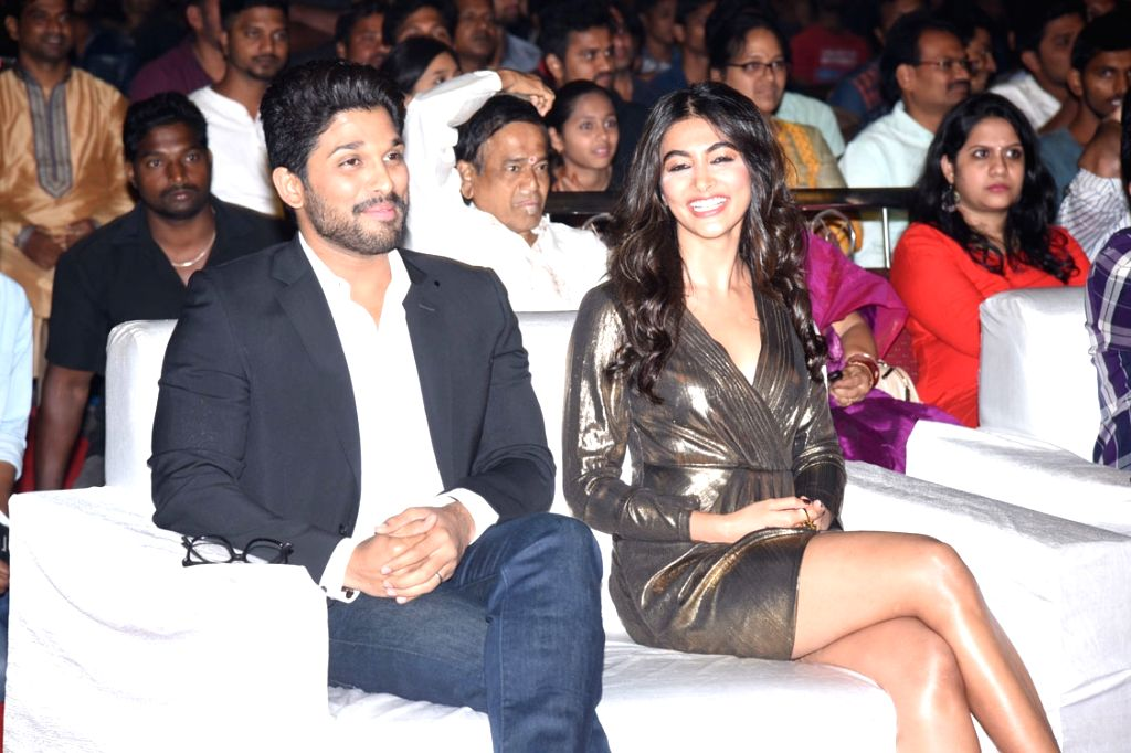 Allu Arjun and Pooja Hegde during the thank you meet on June 26 in Hyderabad.