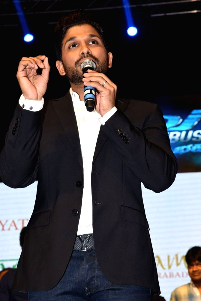 Allu Arjun during the thank you meet on June 26 in Hyderabad.