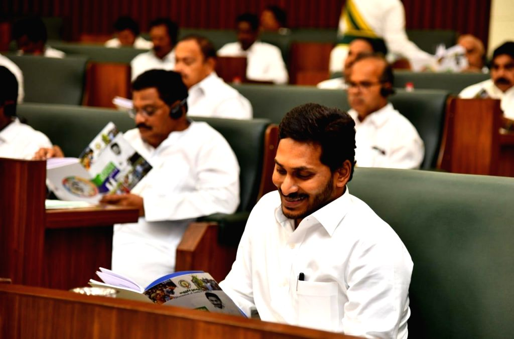 Amaravati: Andhra Pradesh Chief Minister Y.S. Jagan Mohan Reddy during the presentation of the annual state Budget 2019-20 by Finance Minister Buggana Rajendranath at the Legislative Assembly, in Amaravati on July 12, 2019. (Photo: IANS) - Y.