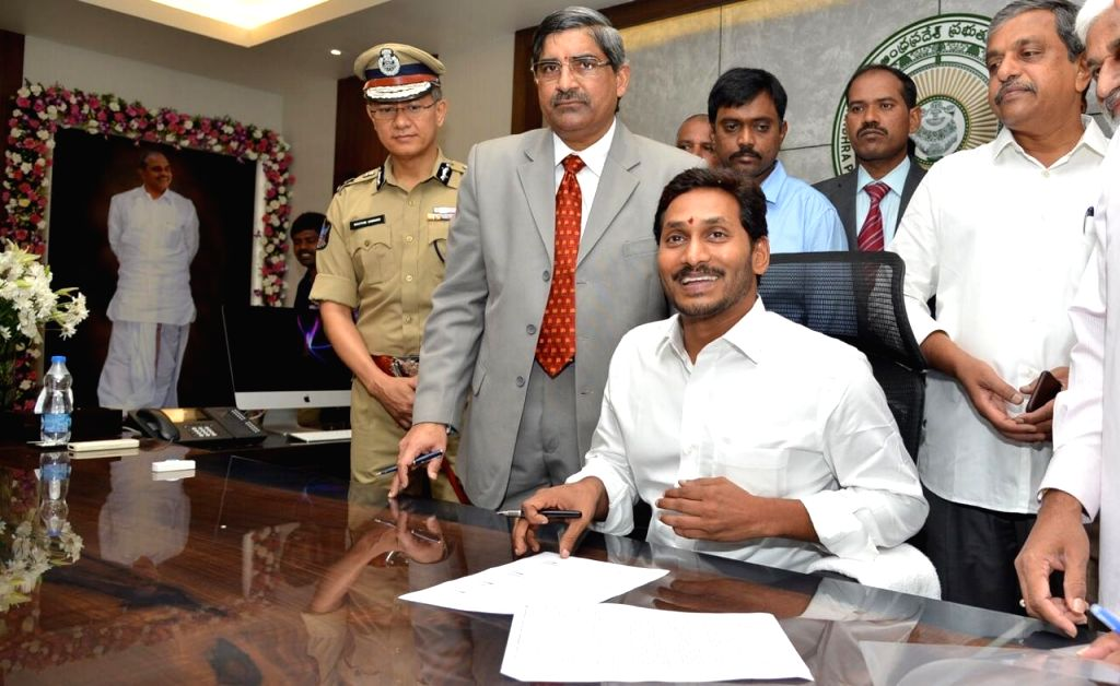 Amaravati: Andhra Pradesh Chief Minister Y.S. Jagan Mohan Reddy occupies his office in the State Secretariat in Amaravati, on June 8, 2019. Jagan, as the Chief Minister is popularly known, had been functioning from his residence after taking oath on  - Y.
