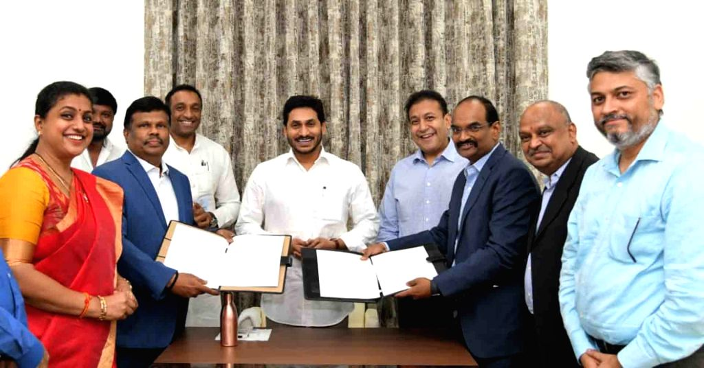 Amaravati: Andhra Pradesh Chief Minister YS Jagan Mohan Reddy during the exchange of an agreement between the state Government and the GMR Group for the construction of Bhogapuram Airport, in Amaravati on June 12, 2020. (Photo: IANS) - Jagan Mohan Reddy