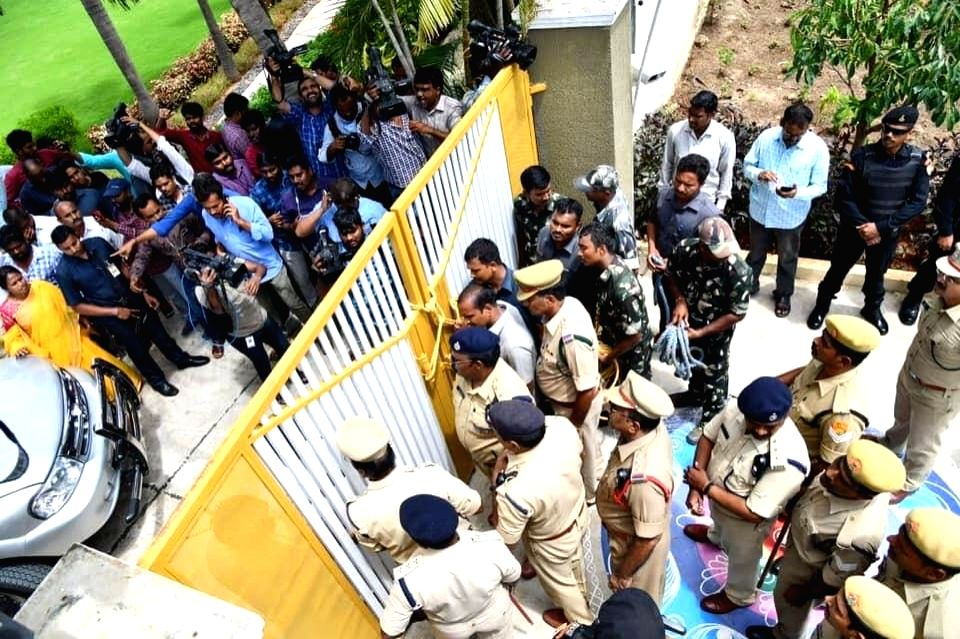 Amaravati: Former Andhra Pradesh Chief Minister N. Chandrababu Naidu was placed under house arrest by the police to prevent him from leading a protest march by the TDP over alleged attacks on their cadres by the ruling YSRCP leaders, in Amaravati on  - N. Chandrababu Naidu