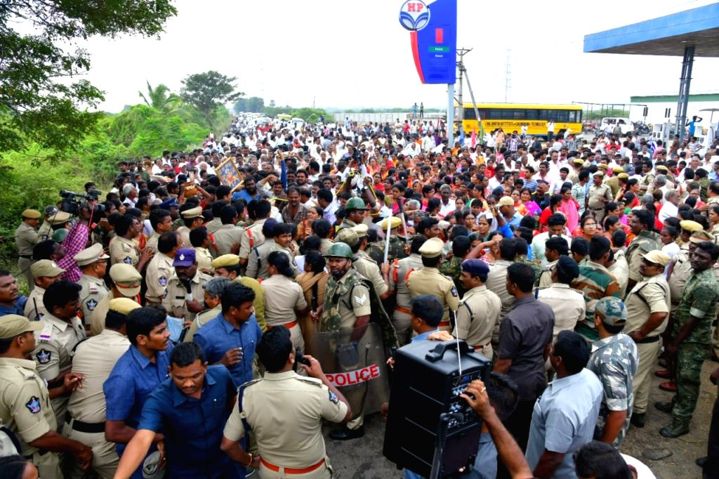 Amaravati: Protesters agitating against the Andhra Pradesh Government's three capital-proposal for the state