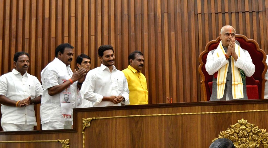 Amaravati: Thammineni Seetharam of the YSR Congress Party (YSRCP) greets MLAs after being unanimously elected as the Speaker of Andhra Pradesh Legislative Assembly on the second day of the first session of the new state Assembly, in Amaravati on June - Y.