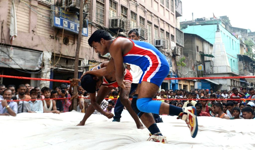 Amateur during amateur wrestling competition in Kolkata, on Oct 27, 2016.