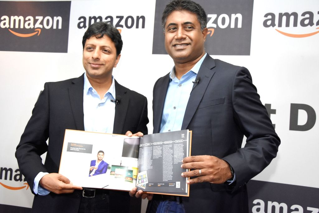 Amazon India, Seller Services, Vice President Gopal Pillai and Amazon India Senior Vice President and Country Head Amit Agarwal during a press conference in Bengaluru on April 30, 2019.