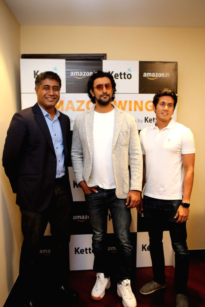 Amazon India Vice President (Seller Services) Gopal Pillai, actor Kunal Kapoor and Ketto Co-founder and CTO Zaheer Adenwala during a programme where Amazon India announced its partnership ... - Kunal Kapoor