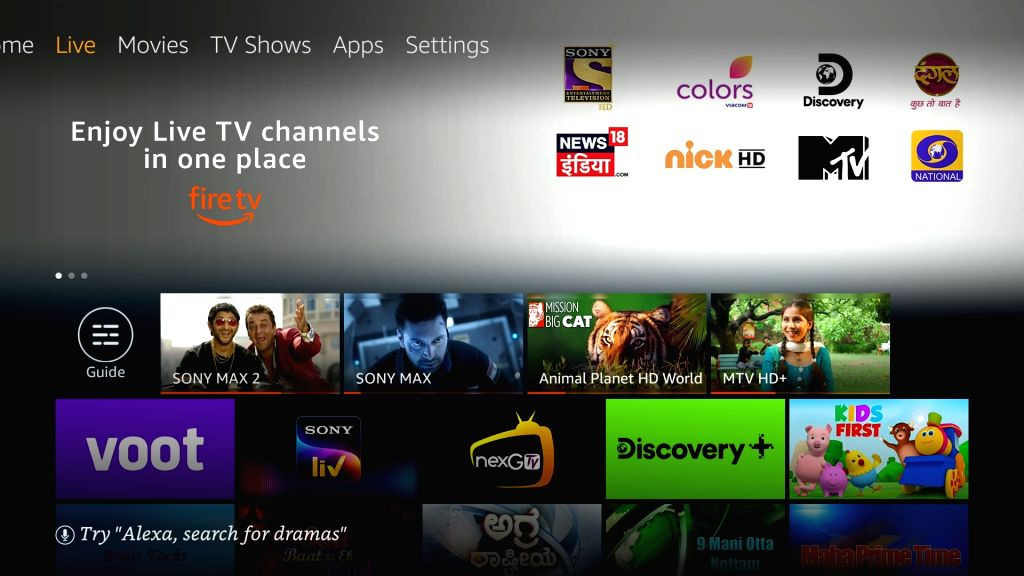 Amazon introduces Live TV feature for Fire TV devices in India.