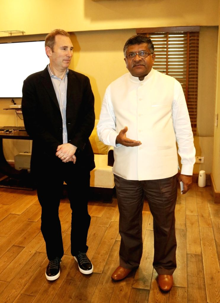 Amazon Web Service CEO Andy Jassy meets Union Minister for Communications & Information Technology Ravi Shankar Prasad, in New Delhi on June 29, 2016.