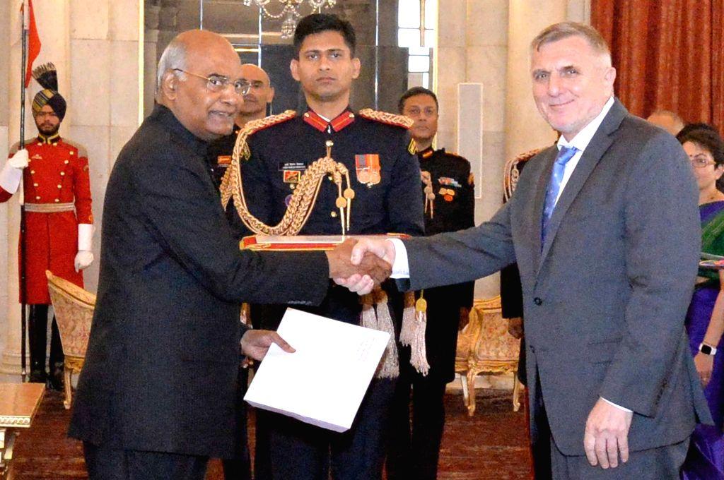 Ambassador-designate of Bosnia and Herzegovina, Muhamed Cengic after presenting his credentials to President Ram Nath Kovind at Rashtrapati Bhavan in New Delhi, on Dec 7, 2018. - Nath Kovind