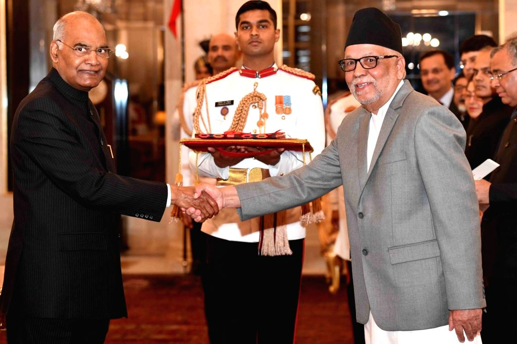 Ambassador-designate of Nepal, Nilamber Acharya presents his credentials to President Ram Nath Kovind at Rashtrapati Bhavan in New Delhi, on March 13, 2019. - Nath Kovind