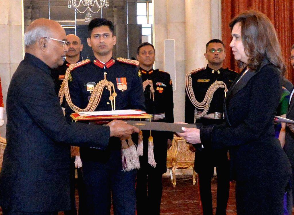 Ambassador-designate of the Arab Republic of Egypt, Dr. Heba Salaheldin Elmarassi presents her credentials to the President Ram Nath Kovind at Rashtrapati Bhavan, in New Delhi on Dec 7, ... - Nath Kovind