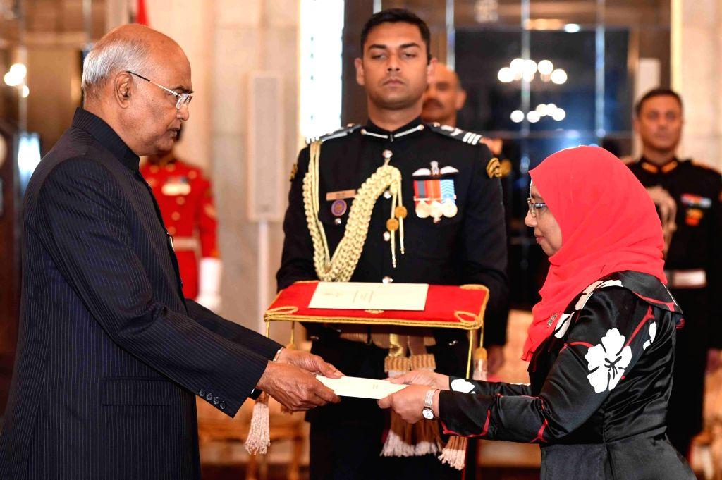 Ambassador-designate of the Republic of Maldives, Aishath Mohamed Didi presents her credentials to President Ram Nath Kovind at Rashtrapati Bhavan in New Delhi, on Feb 8, 2019. - Nath Kovind