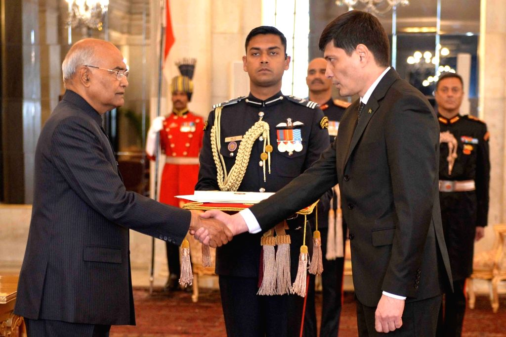 Ambassador-designate of Turkmenistan, Shalar Geldynazarov presents his credentials to President Ram Nath Kovind at Rashtrapati Bhavan in New Delhi, on Feb 8, 2019. - Nath Kovind