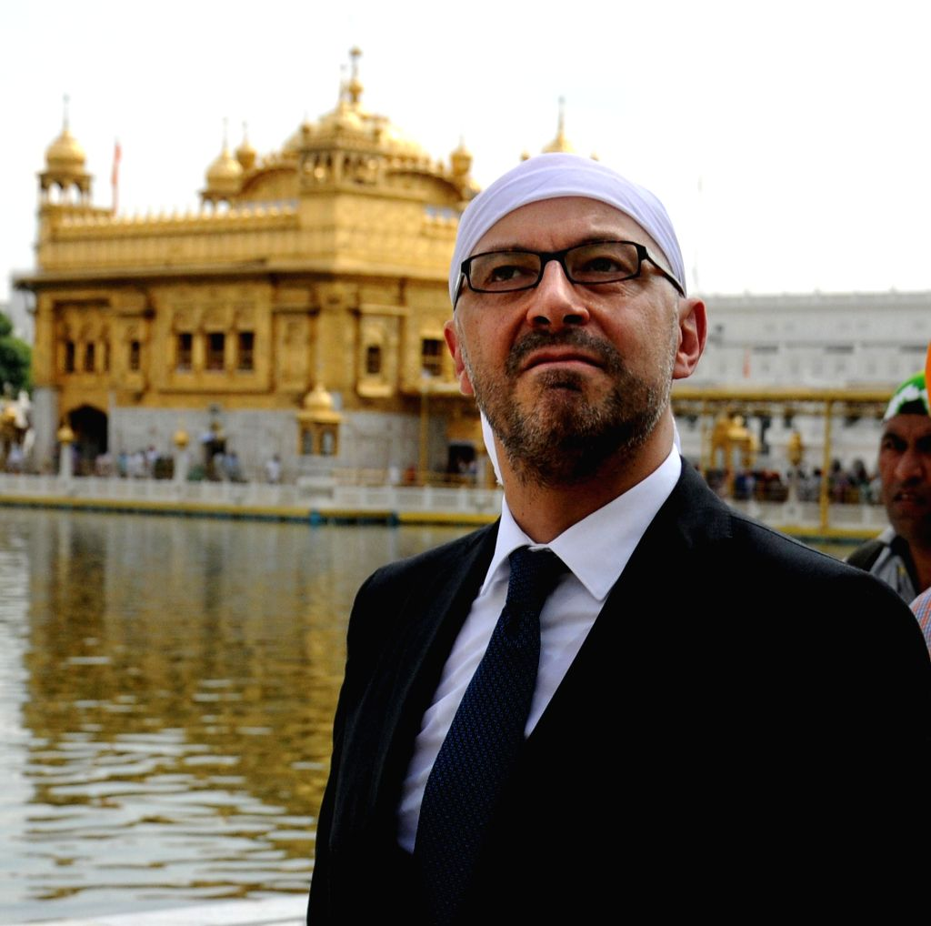Ambassador of France to India, Francois Richier during his visit to the Golden Temple in Amritsar on Sept 9, 2014.